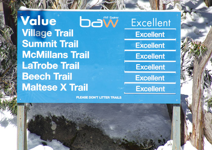 Baw Baw trail sign with all Excellent