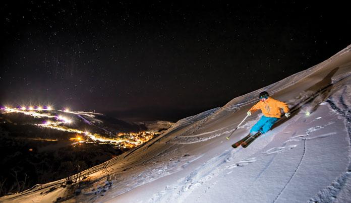 Night shot of skiing Falls Creek in 2014 Snowmageddon season