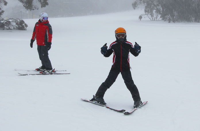 Learning to ski at Selwyn Snow Resort