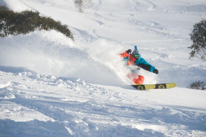 Slashing a powder line during 2014 Snowmageddon season at Thredbo