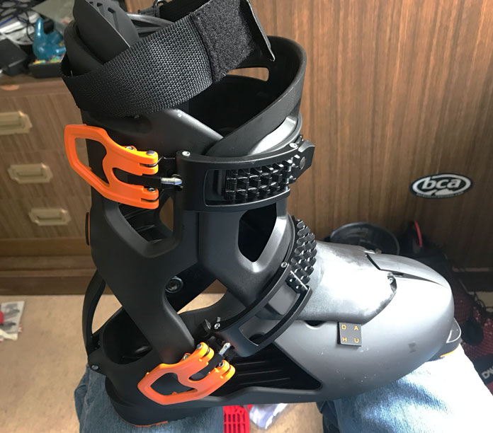 Close up view of Dahu Ecorce 01 Pro ski boot outer shell closed without the inner inside