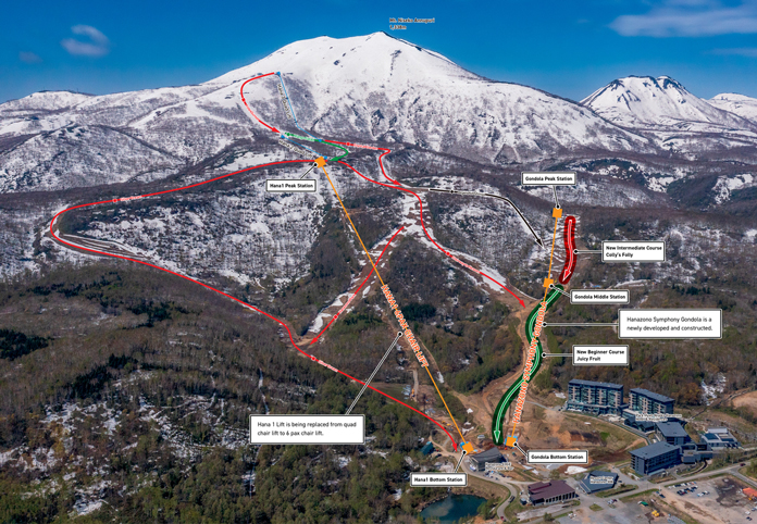 Lift map showing lines of new 6 pac and gondola lifts at Hanazono, Niseko