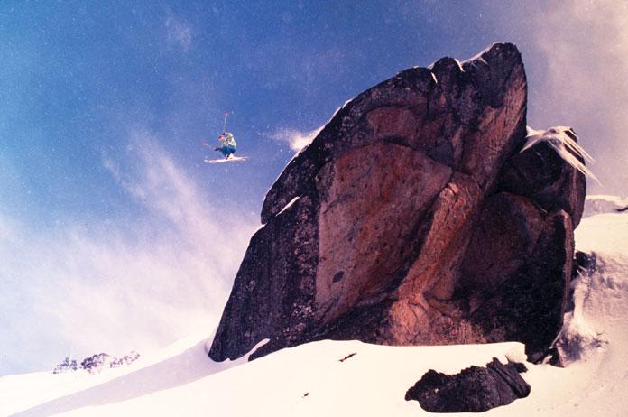 Massive ski jump of Stanleys Rock at Thredbo 1990
