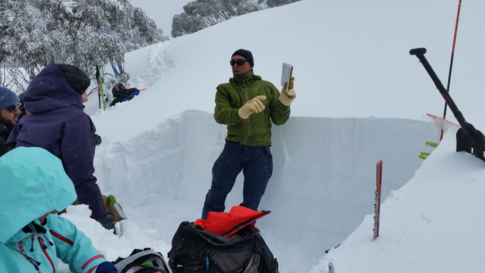 How to make and interpret a snow pit on an Alpine Access AST 1 Avalanche course field day in Australia