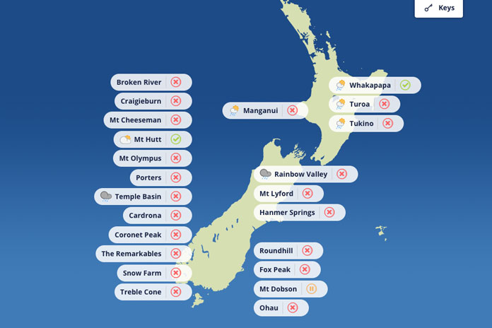Ski Field operating status New Zealand 16/06/21
