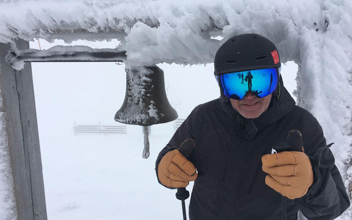 Wearing Naked Optics Storm Goggles in whiteout testing at Thredbo