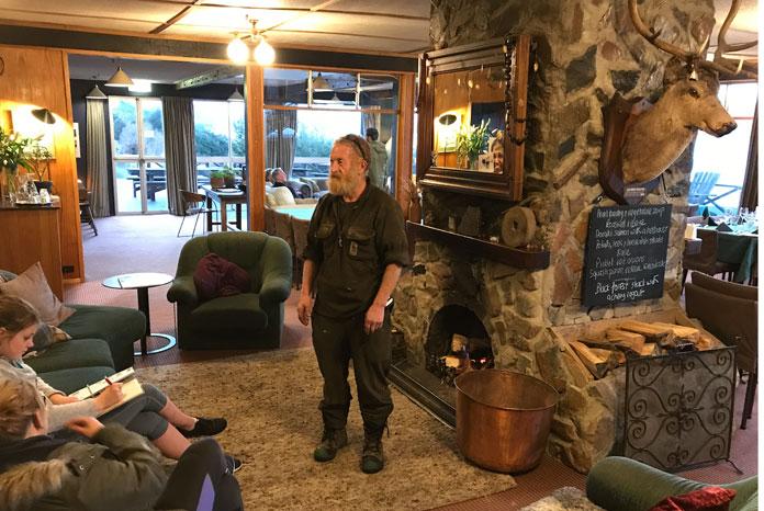 the fireplace lounge at Lake Ohau Lodge