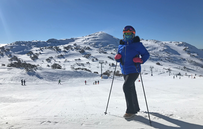 Styling Everau City Walkers on snow at Blue Cow, Perisher