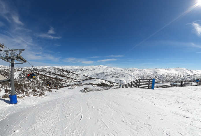 View of the Main Range from Guthega with lots of snow early August, 2021