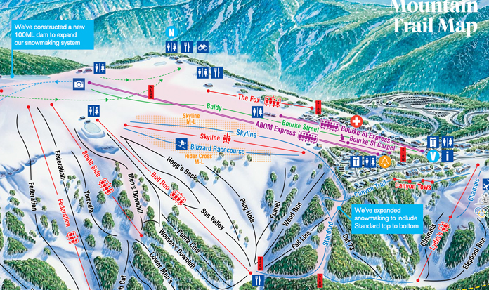 Buller trail map inset showing Hogg's Back run location