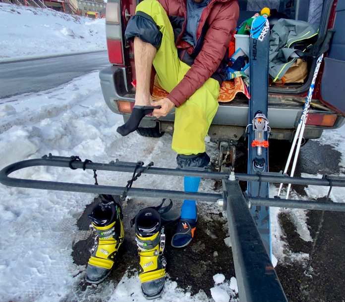 Rolling on Armaskin socks prior to back country skiing