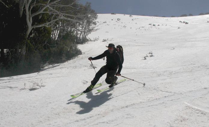 Telemark skiing on Mt Bogong