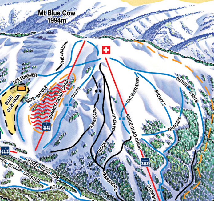 Trail map inset showing Kamikaze at Blue Cow side of Perisher
