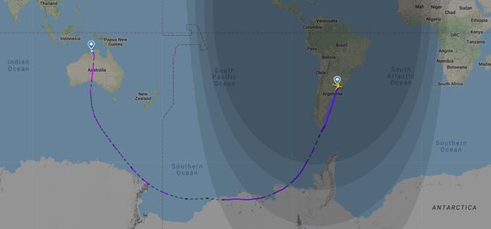 Flight path QF14 Buenos Aires Darwin direct