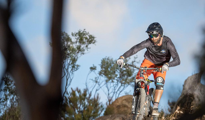 Testing Carve Fighter Pilot Shield Sunnies on a rugged MTB trail