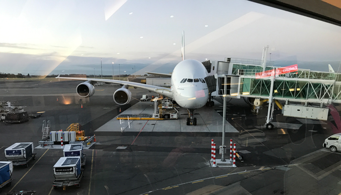 Emirates Airbus A380 at Christchurch Airport