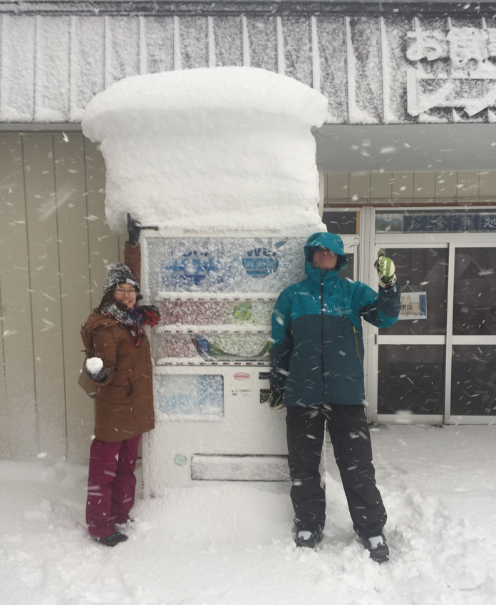 Japanese vending machines keep working wven with a metre deep snow hat on them like this one at Hakkoda, Aomori